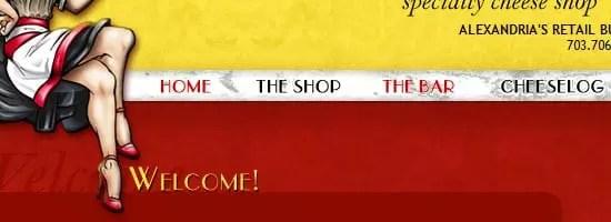 Capture d'écran du menu de navigation Cheesetique.