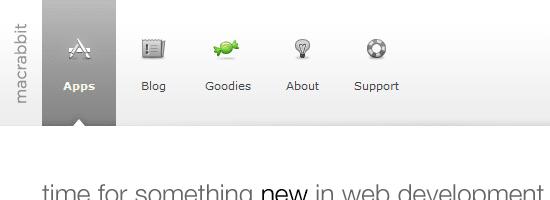 Capture d'écran du menu de navigation MacRabbit.