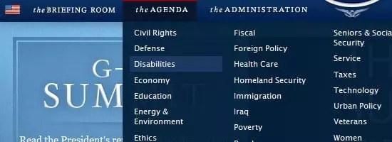 Capture d'écran du menu de navigation de la Maison Blanche.