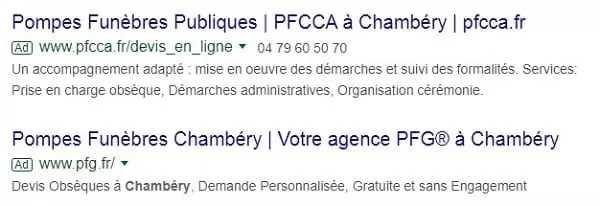 Exemple d'annonces PPC