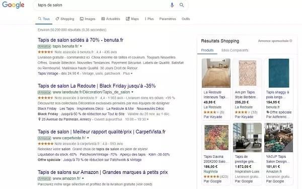 capture d'écran d'annonces payantes