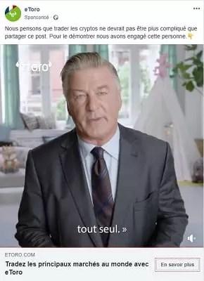 capture d'écran d'une publicité sur les médias sociaux