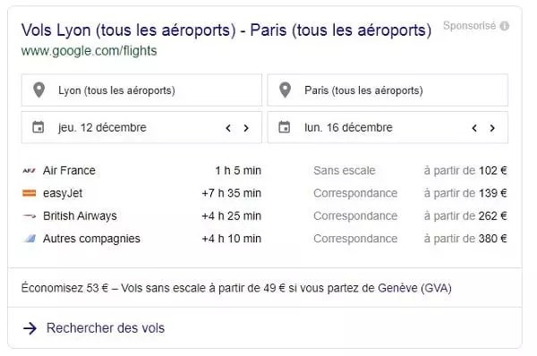 Google Travel vols Paris