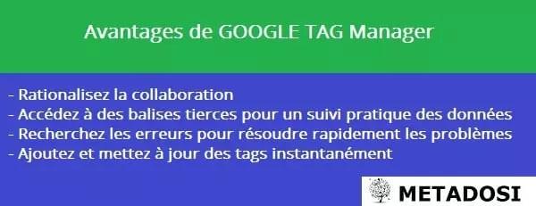 Une liste des avantages de Google Tag Manager