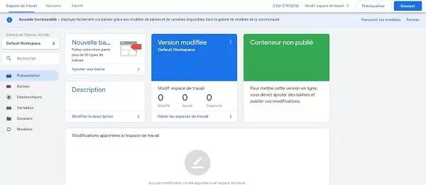 Capture d'écran du tableau de bord de Google Tag Manager
