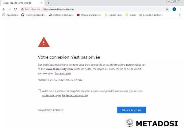 Une alerte de site web non sécurisé dans Google Chrome