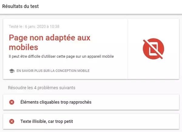 Résultats de l'échec de l'outil de test Mobile-Friendly
