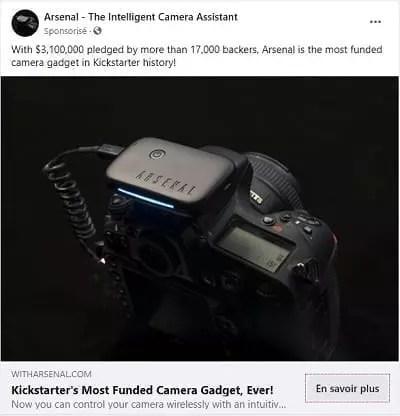 Facebook Exemple de publicité PPC