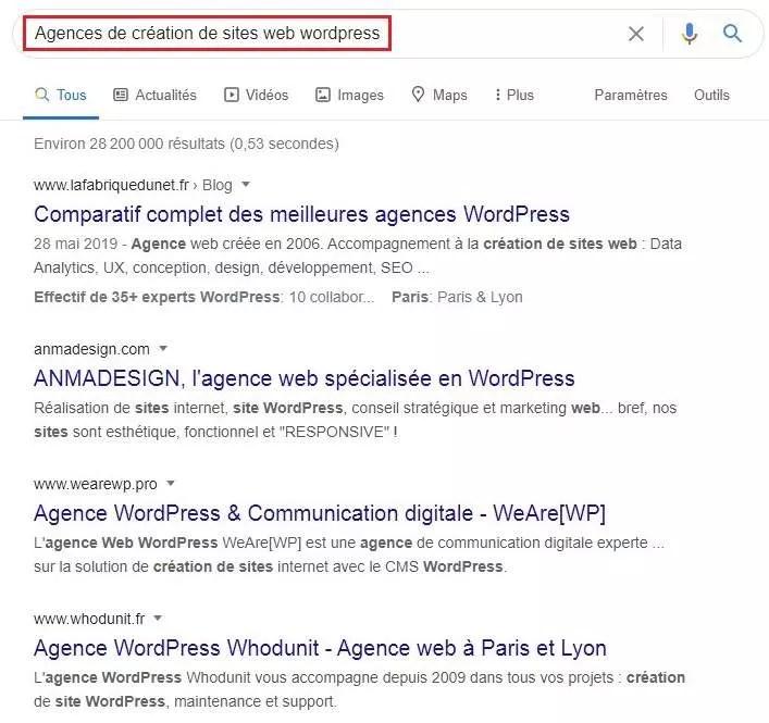 Agences de création de sites web wordpress