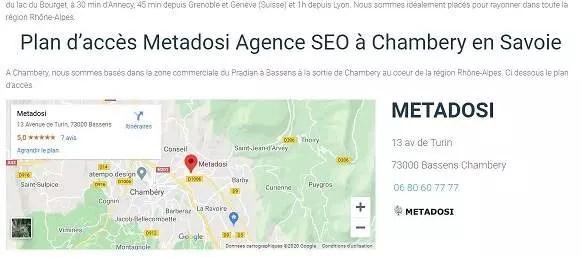Carte de localisation capture d'écran de l'agence SEO à Chambery