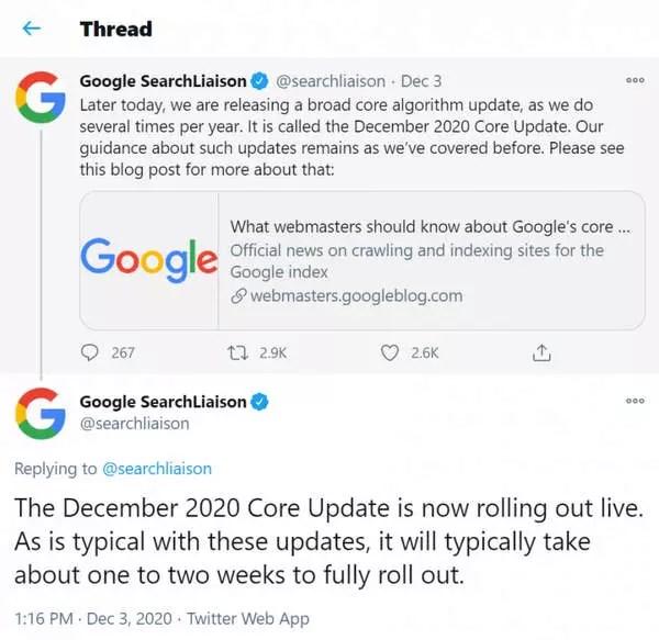 Google annonce une mise à jour de base pour décembre 2020 sur Twiter