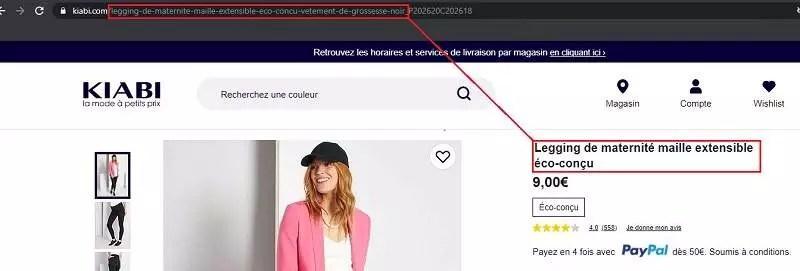 Exemple d'URL pour un site qui vend des leggings