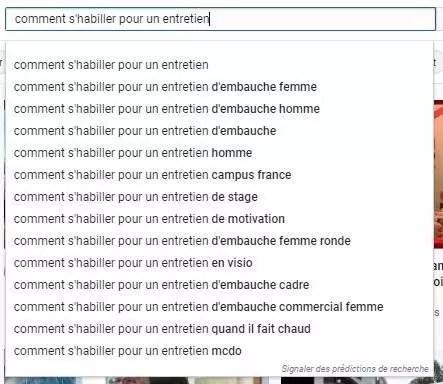 Les recherches suggérées automatiquement par YouTube