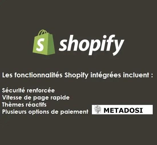 graphique des fonctionnalités intégrées de Shopify