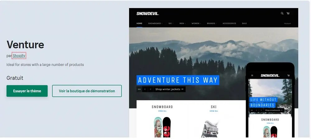Page du thème Shopify nommé Venture
