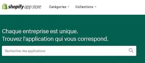 Le site d'applications de Shopify