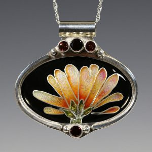3. Gerbera Daisy Cloisonné Enamel Pendant with Garnets - 2016 - vitreous enamel, fine silver, sterling silver, gold foil, garnets