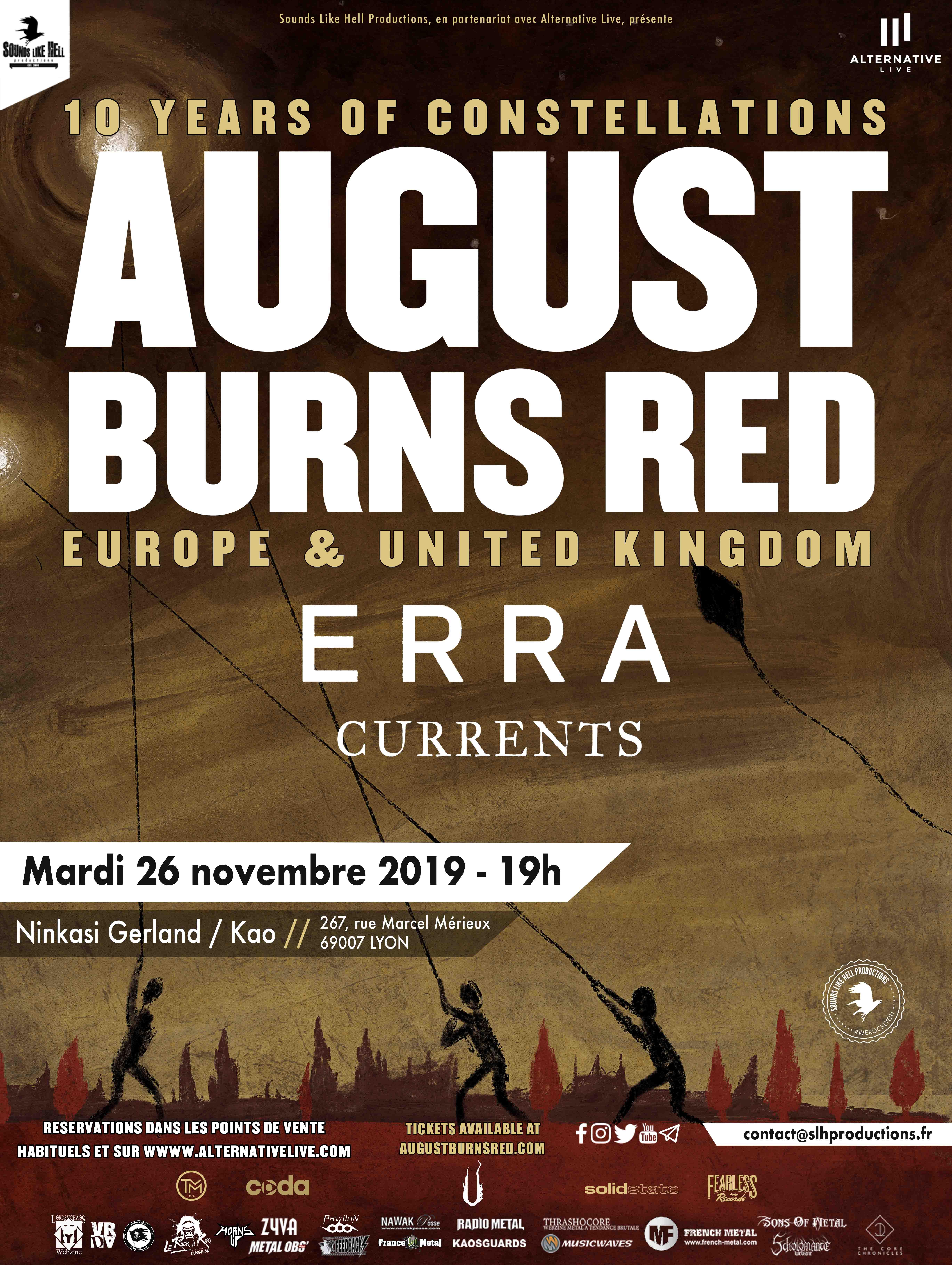 Affiche du concert de August Burns Red : 10 Years of Constellation Tour à Lyon
