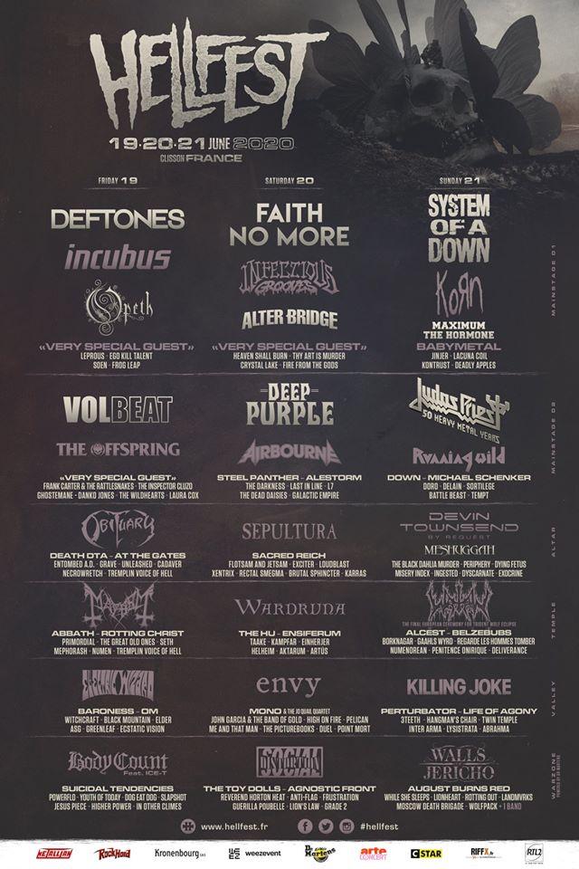 Hellfest, Line-up 3J