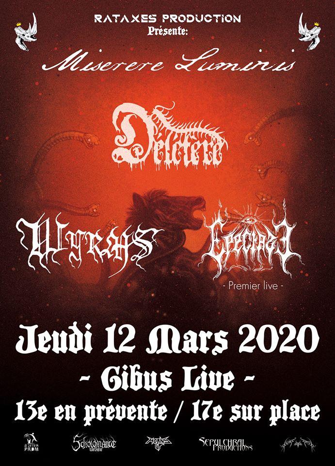 Concert de Miserere Luminis, Délétère, Epectase et WYRMS au Gibus à Paris