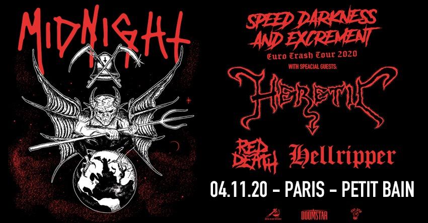 Concert Midnight, Heretic, Red Death, Hellripper à Petit Bain au Paris