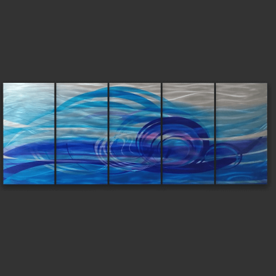 Ocean Dance Blue Metal Art