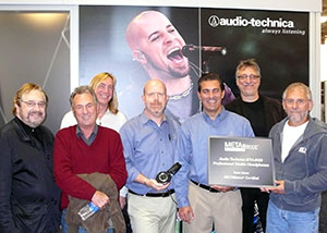 Pictured at the 2008 AES Convention are (L-R) Phil Ramone, Al Schmitt, Chuck Ainlay, Gary Boss (A-T Marketing Director), Greg Pinto (A-T Marketing VP), Frank Filipetti, and Elliot Scheiner. Photo by David Goggin.