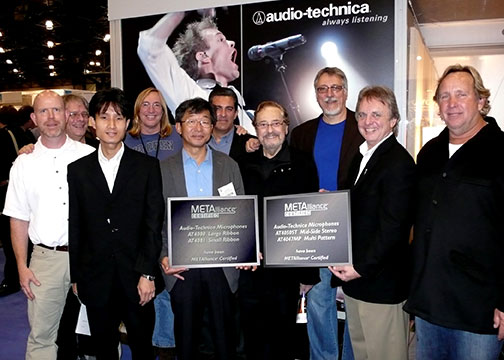 Pictured at AES are (L-R) Gary Boss (Audio-Technica Director of Marketing), George Massenburg, Shingo Suzuki (Audio-Technica Engineer), Chuck Ainlay, Hiroshi Akino (Audio-Technica Engineering Department Manager), Greg Pinto (Audio-Technica V.P. of Marketing), Phil Ramone, Frank Filipetti, Michael Edwards (Audio-Technica Director of Product Management), Ed Cherney. Photo by David Goggin.