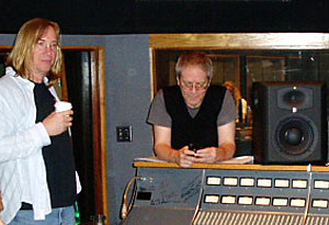 Pictured with a JBL LSR6328 monitor during the 2010 METAlliance event at Capitol Studios are (L-R) Chuck Ainlay and George Massenburg.