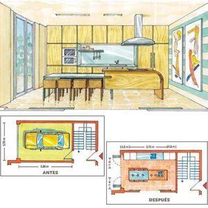 plano mano alzada cocina en garaje