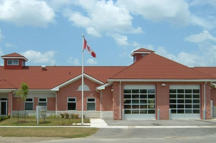 This firehouse in Ontario protects its community, so Metal Roof Outlet made sure they were protected from the elements with a steel continental tile roof.