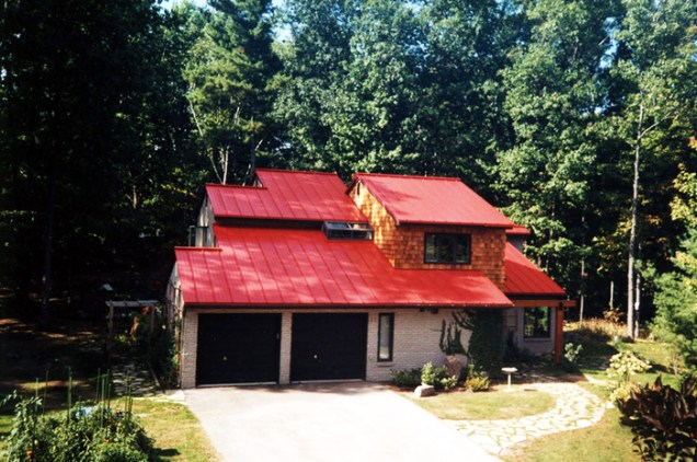 Red metal sheet roof installed by Metal Roof Outlet