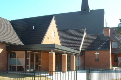 This Ontario church is topped with a black metal shake from Metal Roof Outlet to ensure the building will last for years to come.