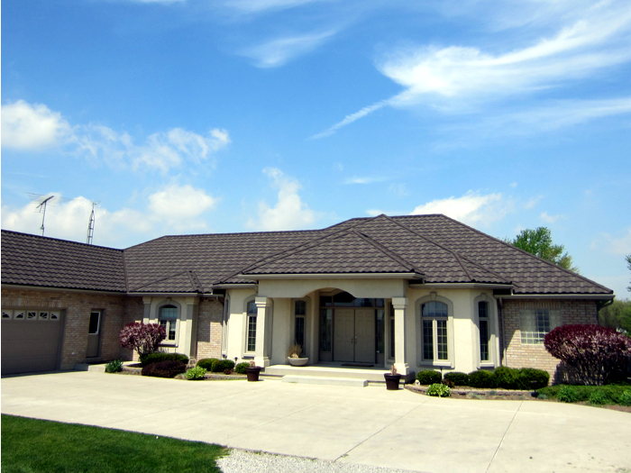 One-story bungalow in Chatham Ontario with metal steel tile roof from Metal Roof Outlet