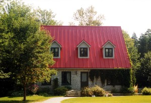 red color standing seam metal roof