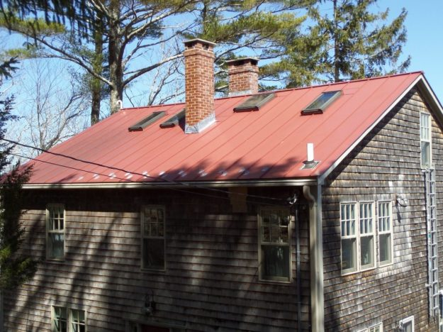 A sheet metal roof on a house