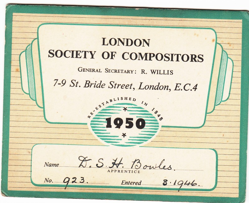 London society of Compositors 1950