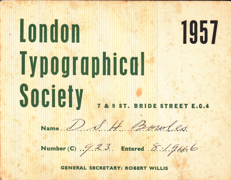 London Typographical Society 1957