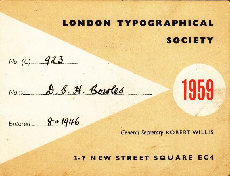 London Typographical Society 1959