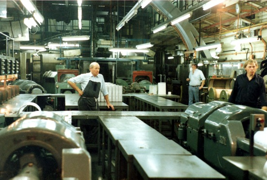 General view of the foundry with (L-R): Brian Chalker, John Wakefield (chargehand) and Bob Teasel.