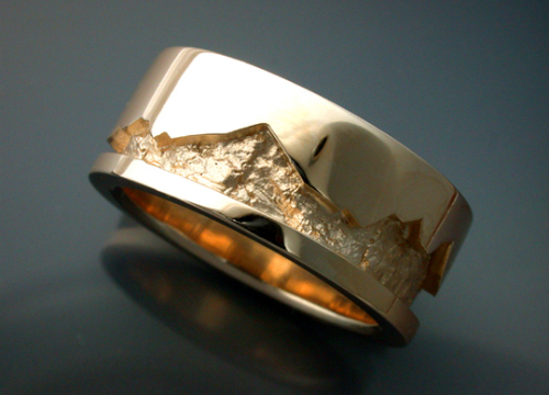 14k Gold Wedding Band With Rock Texture Metamorphosis