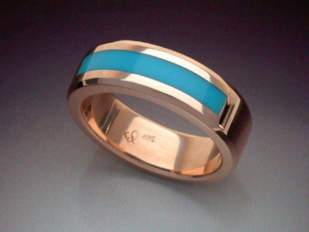14k Rose Gold Ring With Turquoise Inlay Metamorphosis