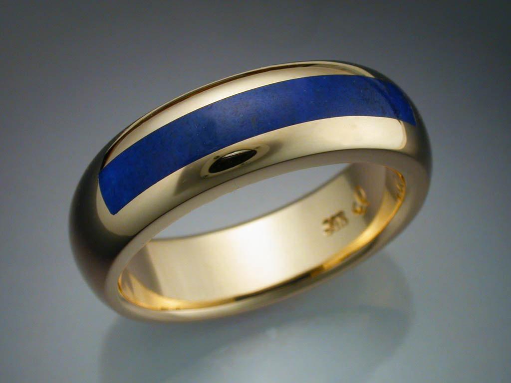 14k Gold Lapis Inlaid Mans Ring Metamorphosis Jewelry
