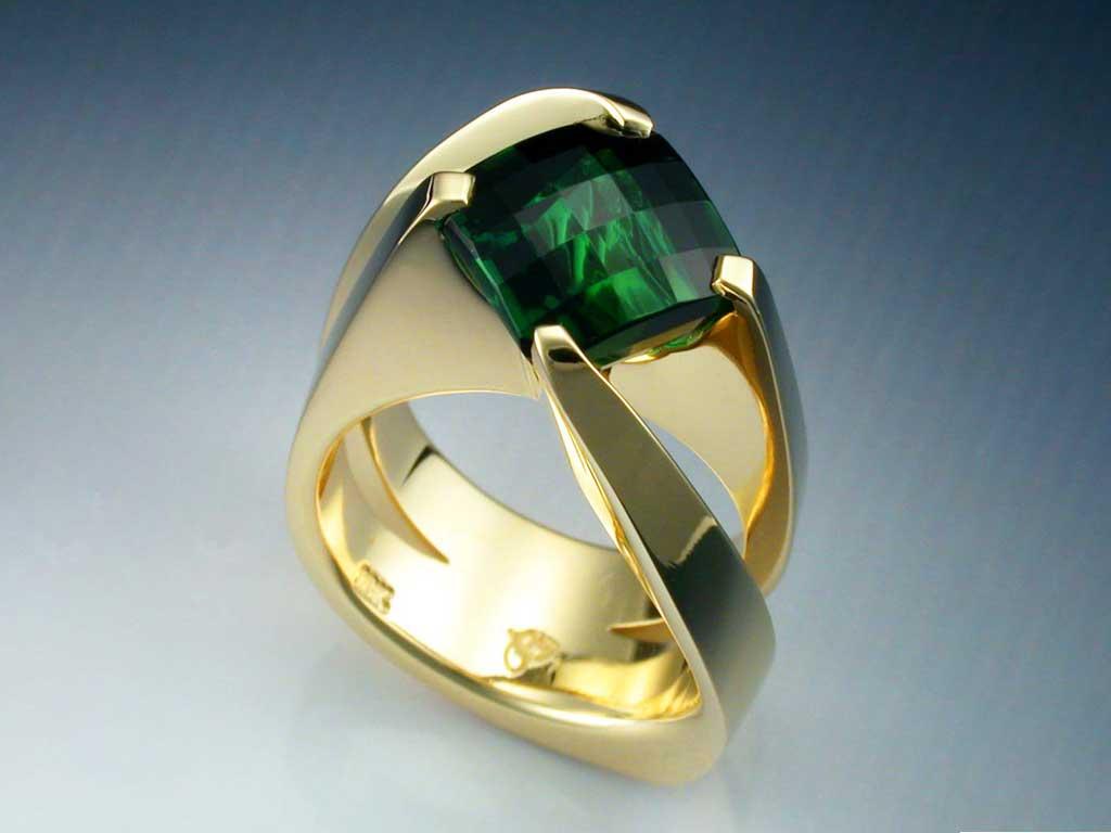 18k Gold Green Tourmaline Ring Metamorphosis Jewelry Design