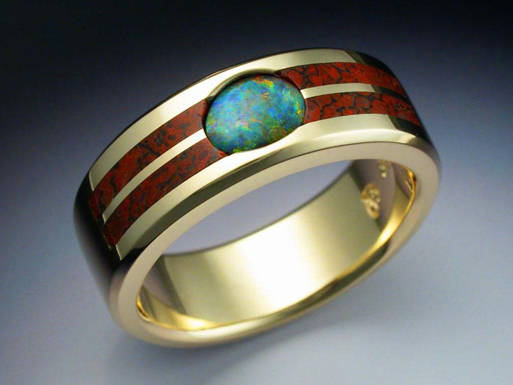 18k Gold Ring With Opal Amp Dinosaur Bone Metamorphosis