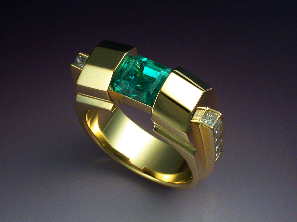 18k Gold Ring With Opposed Bar Cut Tourmaline
