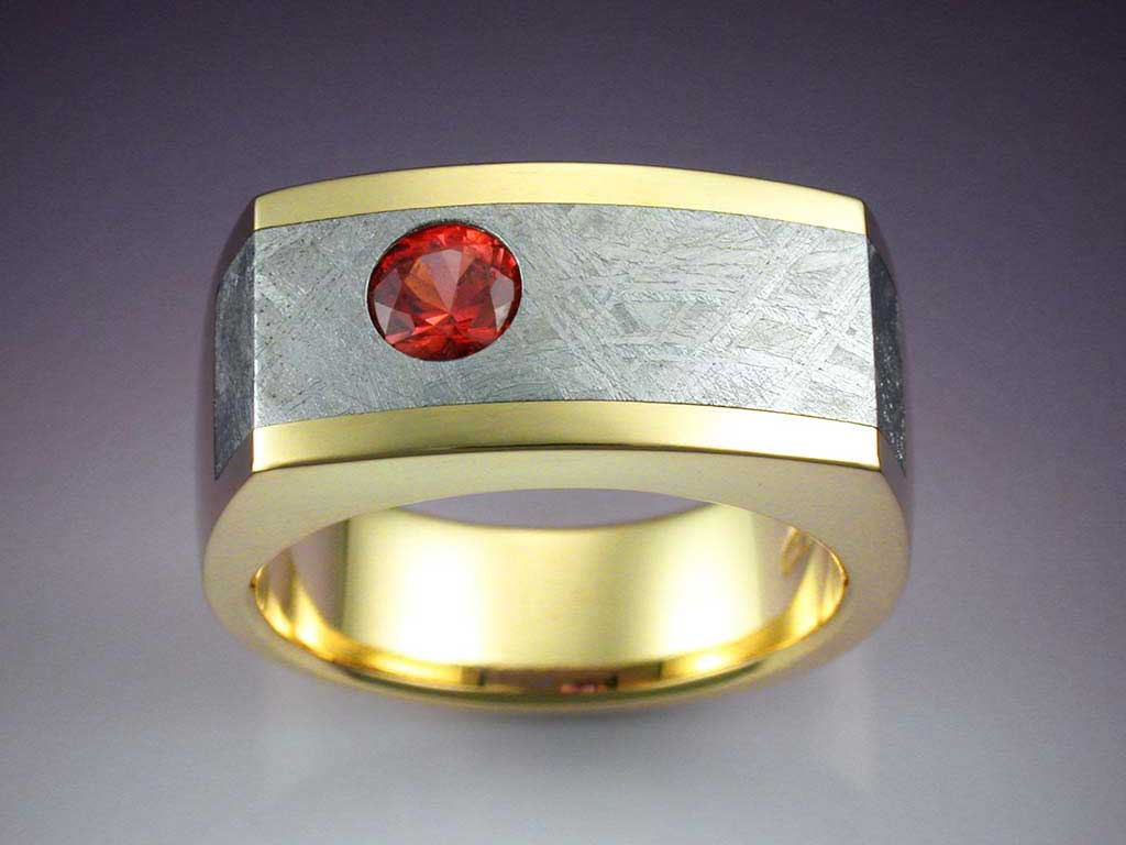 18k Gold Ring With Orange Sapphire Amp Meteorite