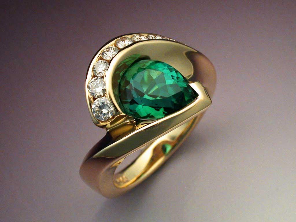 Pear Shaped Green Tourmaline Amp Diamond Ring