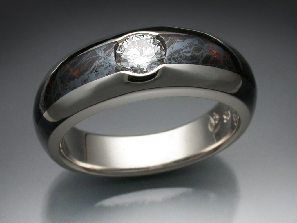 14k White Gold Ring With Huckitta Meteorite Amp Diamond
