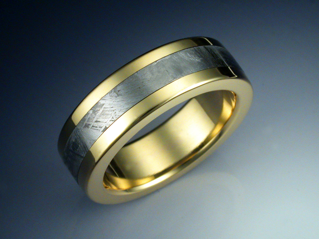 18k Gold Ring With Meteorite Inlay Metamorphosis Jewelry